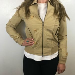 Theory Tan Zip Up Light Jacket Member's Only S F
